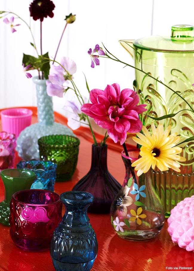 20 copos de cristal coloridos