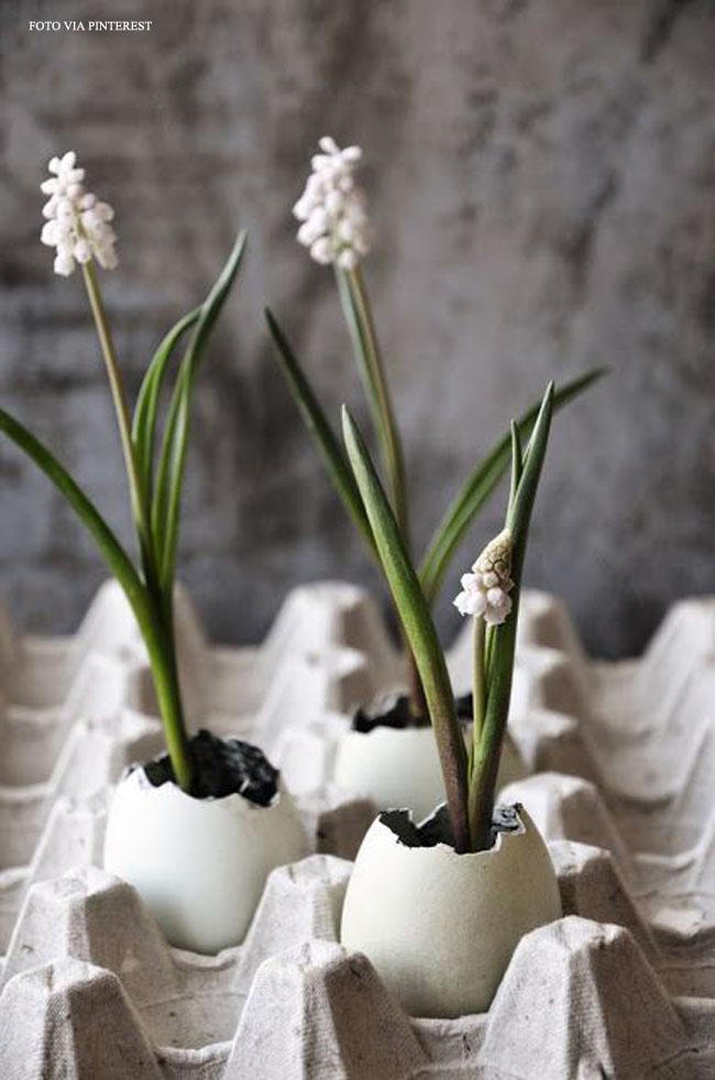 13 casca de ovo com flores