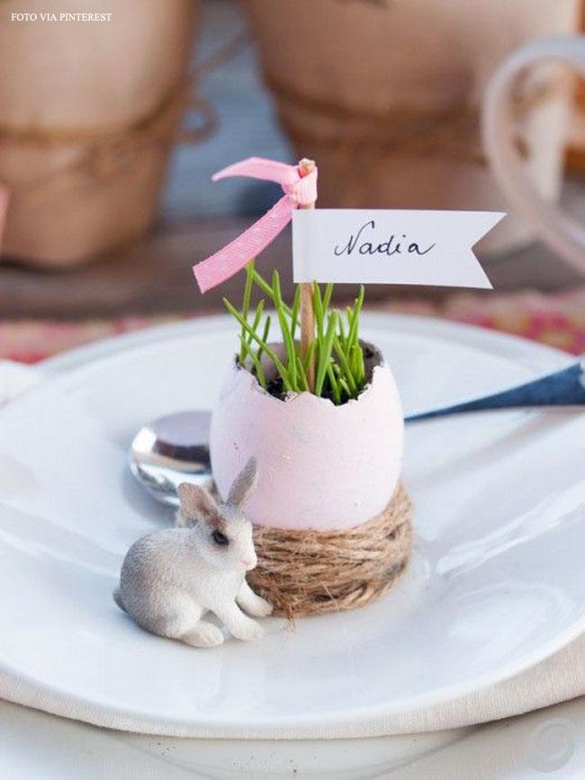 20 prato decorado com flor plantada em casca de ovo